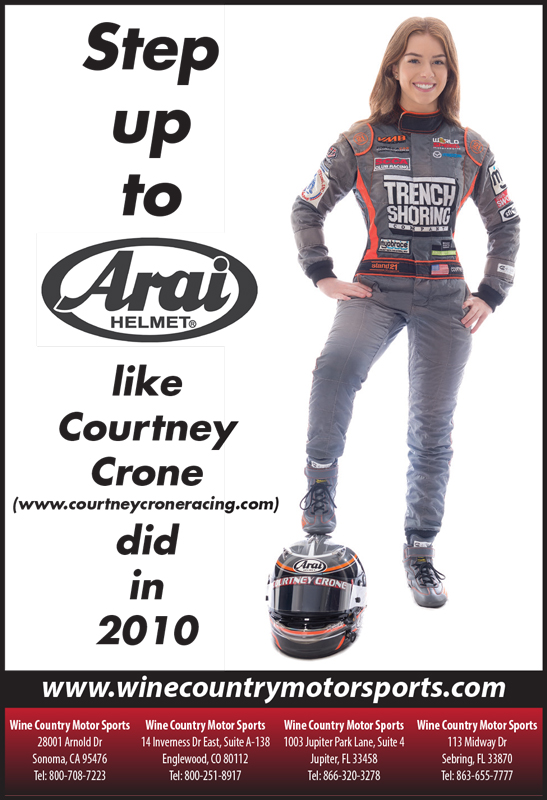 Racing In Car >> Courtney Crone featured in new Arai Helmet print ad campaign.
